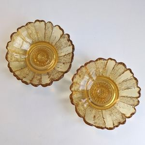 Vintage Yellow Amber Glass Flower Candleholders